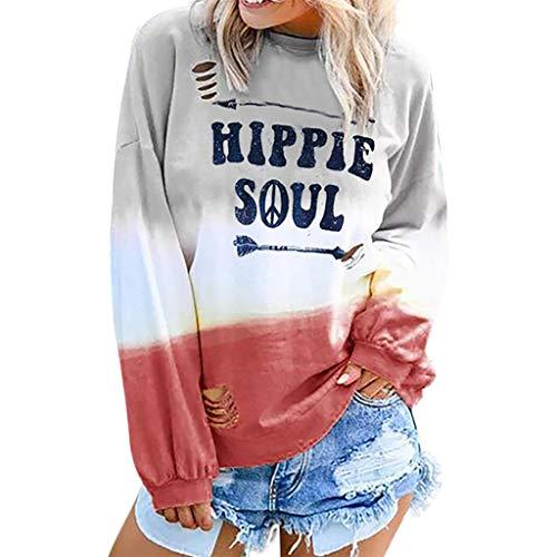 TEFIIR Alphabet Phrase gedruckt Rundhals-Langarm-Sweatshirt mit Farbverlauf Damen Blusen Elegante Langarm Bluse Tunika Oberteile T-Shirt Lose Tops Hoodies