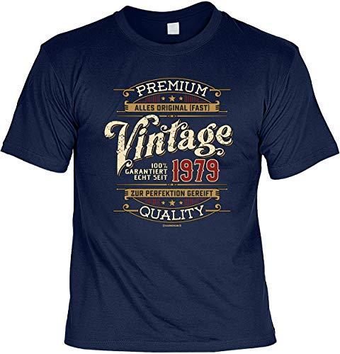 Herren Geburtstag T-Shirt - 40 Jahre - 100% Premium Vintage seit 1979 - lustige Shirts 4 Heroes Geschenk-Set Bedruckt mit Urkunde