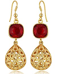 Spargz Red Color Synthetics Stone Gold Plating Dangle & Drop Hook Earrings For Women AIER 635