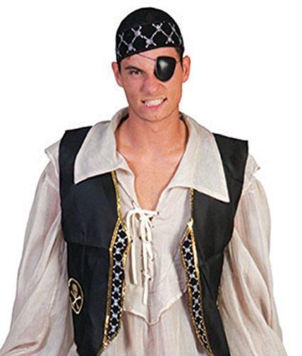 (Halloweenia - Herren Piraten Kostüm komplett Hemd Weste Lederoptik Augenklappe Kopftuch , One Size, Schwarz)