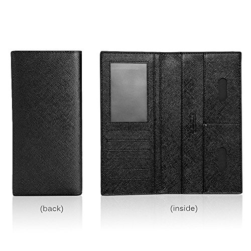 iVotre Lange Lockeren Portemonnaie, Ultra - Slim -, Multi - Card Slots Bild Inhaber, Hervorragende Hardware - Soft - Pu - Leder Für Männer / Jugendliche / Jungs / Studenten / Vater - Schwarz black