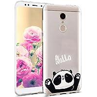 Uposao Hülle Xiaomi Redmi 5 Plus Silikon Handyhüllen Bunt Muster Transparent TPU Silikon Handyhülle Durchsichtige Schutzhülle TPU Weich Tasche,Niedlich Panda