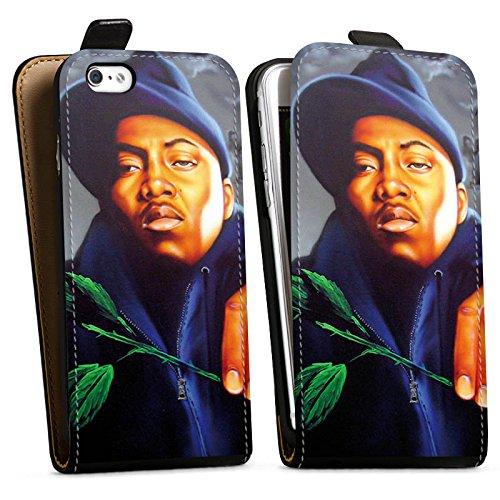 Apple iPhone X Silikon Hülle Case Schutzhülle Nas Rapper Illmatic Downflip Tasche schwarz