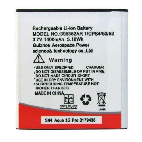 Replacement Internal Battery for Intex Aqua 3G Pro 395352ar1400 Mah Li-Ion