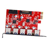 Inateck KTU3FR-5O2I - USB 3.0 expansion card (5 ports), black and red