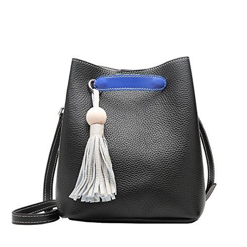 E-Girl Q0899 Damen Leder Handtaschen Satchel Tote Taschen Schultertaschen Schwarz