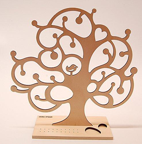 Albero portagioielli in legno, regalo per donna, in betulla naturale, design T1