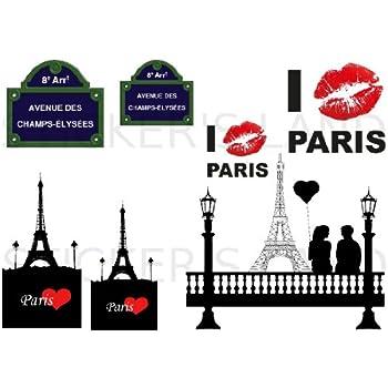 STICKERS D/ÉCORATIFS PARIS /à d/écouper Planche /à stickers DIMENSIONS 21x28cm en PAPIER ADHESIF TRANSPARENT