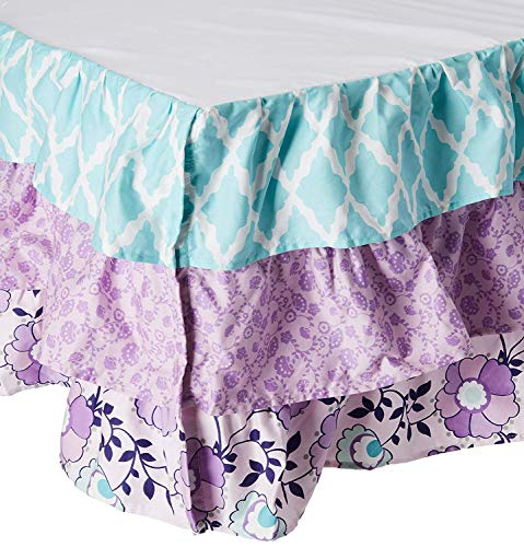 Zoe Lavender and Purple Floral and Geometric Prints Layered Crib...