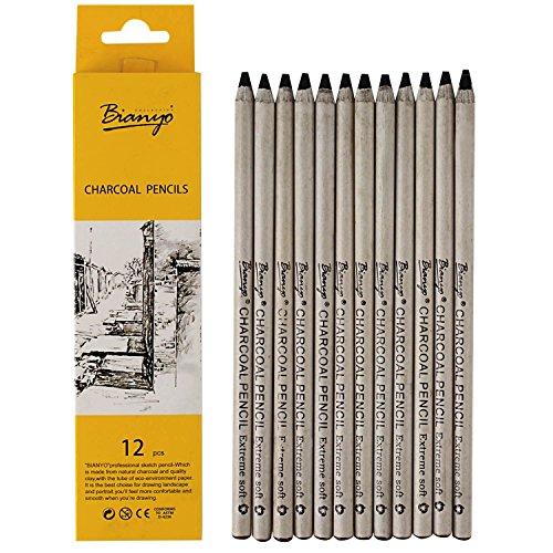 Bianyo Black Charcoal Pencils - 12 Piece Set Extreme Soft