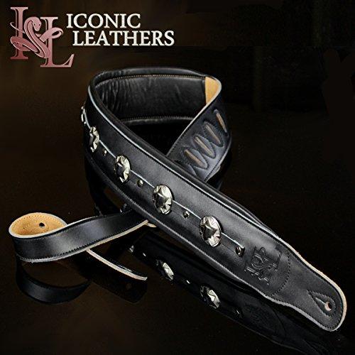 Iconic Leathers IL-5ConBlk Gitarren- und Bass-Gurt, extra breit, 8,3 cm, Schwarz (Extra Breit Walker)
