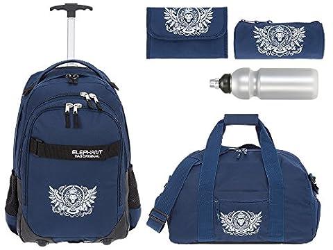 5 Teile MEGA SET: ELEPHANT Trolley HERO SIGNATURE Trolleyrucksack + Sporttasche + Mäppchen Rolle + Etui + Trinkflasche Motiv 12646 (Lion Blau)