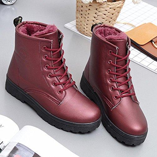 Winter Cuir Surface étanche Fond épais antidérapant épais avec haute Aide Dentelle Martin Short Coton Chaussures bordeaux