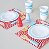 Indigo Jamm Dining For Two, Pretend Play Retro Dining Set with 14 Piece Wooden Dinner Set for 2