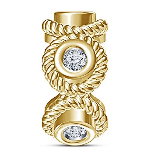lilu Bijoux en argent sterling CZ Bracelet Blanc en argent Charm Bracelet Pandora, Biagi et Chamilia Charme Perles, et idéal pour femme Jaune