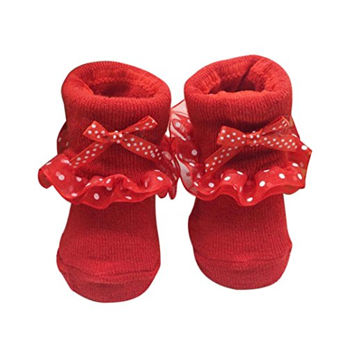Trumpette Baby-socken (Baby Socken, FNKDOR Neugeborene Mädchen Baumwolle Söckchen Bowknots (0-6 Monate, Rot))