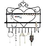 Home-Neat vintage Support mural Organiseur de bijoux en forme de cœur à suspendre Boucles d'oreilles support présentoir à collier de Noir