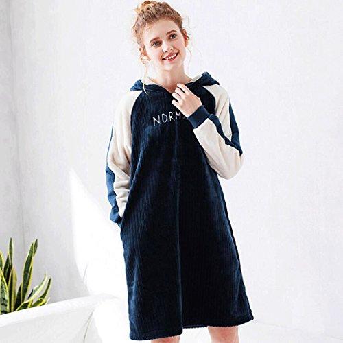 ZLR Autunno e inverno Stagione Nuova sezione Lady Pigiama Pure Cotton Camicia da notte Lady Home Dressing Gown ( Colore : Blu , dimensioni : S. ) Blu