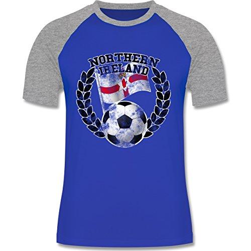 EM 2016 - Frankreich - Northern Ireland Flagge & Fußball Vintage - zweifarbiges Baseballshirt für Männer Royalblau/Grau meliert
