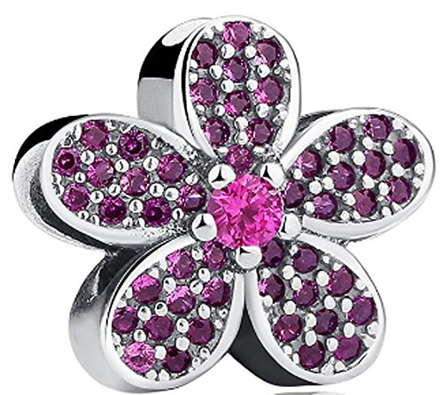SaySure - 925 Sterling Silver Dazzling Daisy Charm Bead With Red CZ