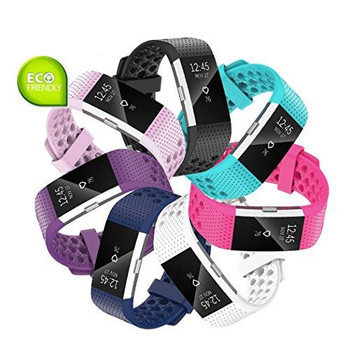 Fit-power Armbänder für Fitbit Charge 2, weich, verstellbar, für Sport und Freizeit, 2 Größen L Pack of 7
