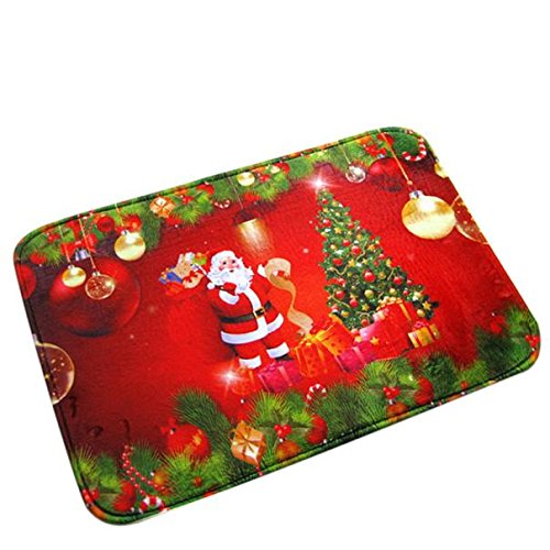 badematte rot Weihnachten HD gedruckt rutschfeste absorbierende wasserdichte Home Decor LuckyGirls (Rot)