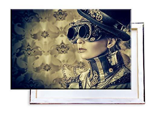 Unified Distribution Sexy Steampunk Girl mit Brille - 120x80 cm - Bilder & Kunstdrucke fertig auf Leinwand aufgespannt und in erstklassiger Druckqualität