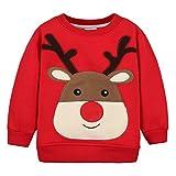 Felpe Sportive del Natale Bambino Maglione a Manica Lunga Cotone Pullover, Rosso Alce 2-3 Anni