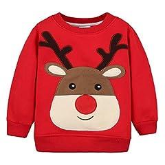 Idea Regalo - Felpe Sportive del Natale Bambino Maglione a Manica Lunga Cotone Pullover, Rosso Alce 12-24 Mesi