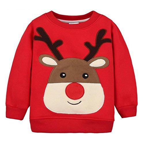 Felpe Sportive del Natale Bambino Maglione a Manica Lunga Cotone Pullover, Rosso Alce 2-3 A