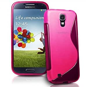 Connect Zone® S line Silicone Gel Case Cover for Samsung Galaxy S4 Mini i9190 with Screen Guard and Polishing Cloth - Pink