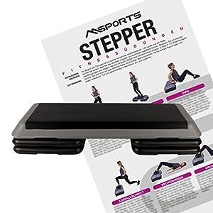 MSPORTS Steppbrett Professional inkl. Übungsposter + Work Out App GRATIS | 3 – Fach höhenverstellbar Studio Stepper