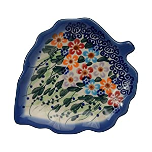 Traditional Polish Pottery, Handcrafted Ceramic Leaf-Shaped Tea Bag Coaster or Spoon Rest, L.12cm, Boleslawiec Style Pattern, H.401.Daisy