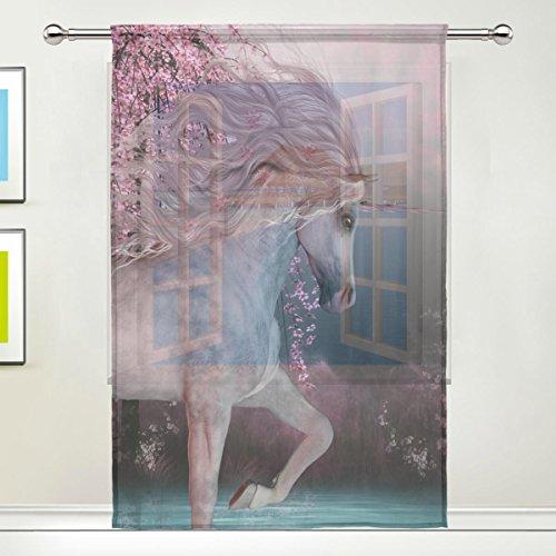 Use7 Custom 3D Cherry Blossom Einhorn Sheer Panel Paar Vorhänge 139,7 x 19,8 cm, 1 Stück Modern Window Treatment Panel Collection für Wohnzimmer Schlafzimmer Home Decor - Sheer Cherry