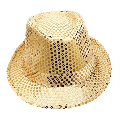 Sequined Bowler Hat in five colour choices, gold, silver, red, blue, black.