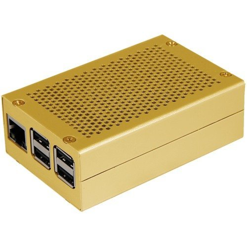 Joy-IT Gehäuse Gehäuse für Raspberry Pi 2/3/B+ Aluminium, gold