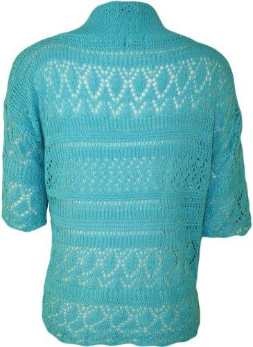 WearAll - Boléro Cardigan Ouvert Tricoté Crochet à Manches Courtes - Hauts - Femme - Grandes Tailles 44-48 Turquoise