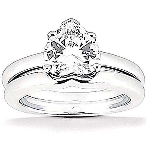 1 ct. anello di regolazione solitaire banda di nozze di diamante taglio cuore Dimensione 23,5