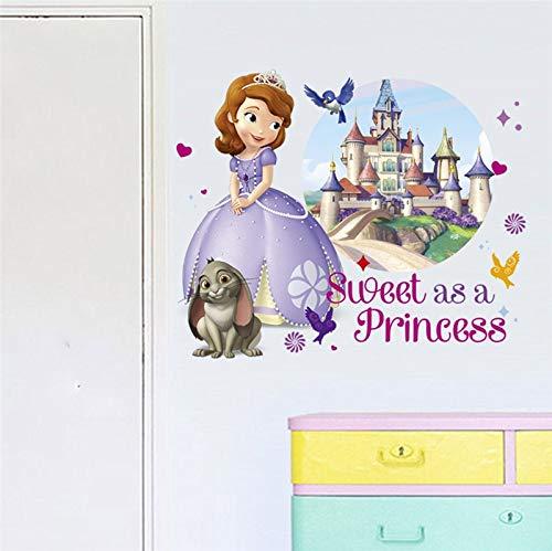 r Wandtattoo Cartoon Sofia Prinzessin Schloss S Für Kinderzimmer Dekoration DIY Anime Wandbild Kunst Mädchen PVC Poster E ()