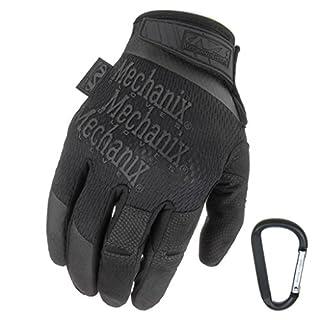 MECHANIX WEAR Specialty High Dexterity 0.5mm gants de protection, respirants et ergonomiques + mousquetons, noir, coyote / taille S, M, L, XL (L, noir)
