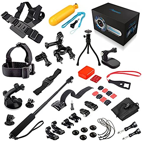 BEEWAY Sports Camera Accessory Bundle 19 in 1 Packs de Accesorios Kits para GoPro HERO 4 Black Silver Edition, Go Pro HERO 3+ 3 2, HD HERO Original Cameras, SJCAM QUMOX Wifi SJ4000 Action Cam, Sunco DREAM 2 Cámaras Deportivas DV etc, includes : Chest Body Harness Adjustable Belt Strap + Elastic Head Strap + Vented Helmet Strap Mount + Wrist Strap Belt Holder Band Mount + Extendable Handheld Telescopic Monopod Tripod with Adapter + Bike Motorcycle Handlebar Seatpost Mount + Floating Hand Grip Handle Mount + Floaty Sponge with 3M Sticker + Car Windshield Suction Cup Mount Stand Holder + Mini Universal Flexible Tripod + Travel Quick Clip Release Clamp Mount + Buckle Basic Mount + Long/Short Screw + Curved/Flat Mounts with 3M Adhesive + Long/Short Straight Joint + J-Hook Buckle Mount + Safety Tether + Plastic Spanner + Storage Bag