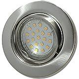 10 Stück SMD LED Einbauleuchte Elena 230 Volt 9 Watt Schwenkbar Edelstahl geb. / Warmweiß