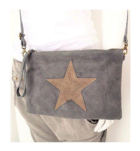 damen-accessoire-clutch-wristlet-pochette-bag-tasche-schultertasche-crossover-stern-star-8029-grau