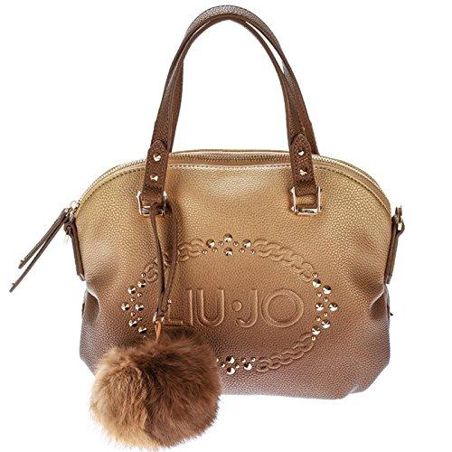 LIU JO LUCCIOLA Borsa bugatti piccola con logo e borchiette in ecopelle SFUMATA GOLD N66106