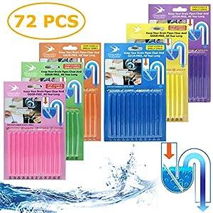 72 Stück Drain Cleaner Sticks - Stoppe stinkende & verstopfte Abflüsse   Enzymreiniger für verstopfte Rohre in Bad, Dusche und Küche   Rohrreiniger/Abflussreiniger für Spülbecken