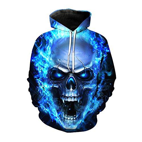 EUR Plus Size Schädel Hoodies 3d-Fire Skull Punk Hoody Sweatshirt Hip Hop Unisex Pullover mit grossen Taschen Tops, YH 00343, XL Punk Skull Sweatshirt