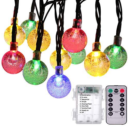 Globo Catene Luminose,[Timer Remoto] KINGCOO 20ft 50LED Palla Cristallo A Batteria Luci a Corda con 8 modalità per Giardino Natale Compleanno Nozze Illuminazione Decorazioni (Multicolore)