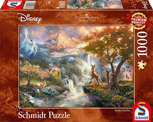 Schmidt Spiele Puzzle 59486 - Thomas Kinkade, Disney Bambi, 1.000 Teile Puzzle