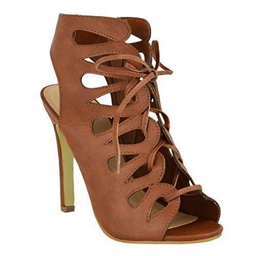 Nuevo Talón De Alto Talón Para Mujeres Para Cortar Gladiador Con Cordones Con Tobillo Zip Un Sombrero De Boda Sandalias Zapatos Numero Piel Sintética Marrón