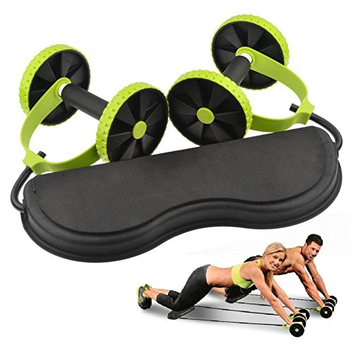 grofitness Doppelrollen ab Roller Bauchtrainer mit Widerstand Band Pull Seil Taille Trimmer Home Studio Equipment